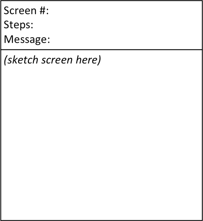 User flow screen